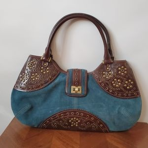 Rafe turquoise cowhide suede studded hobo purse